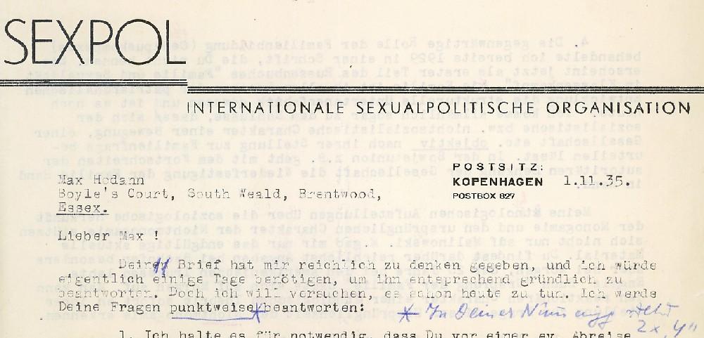Maschinengeschriebener Brief an Max Hodann