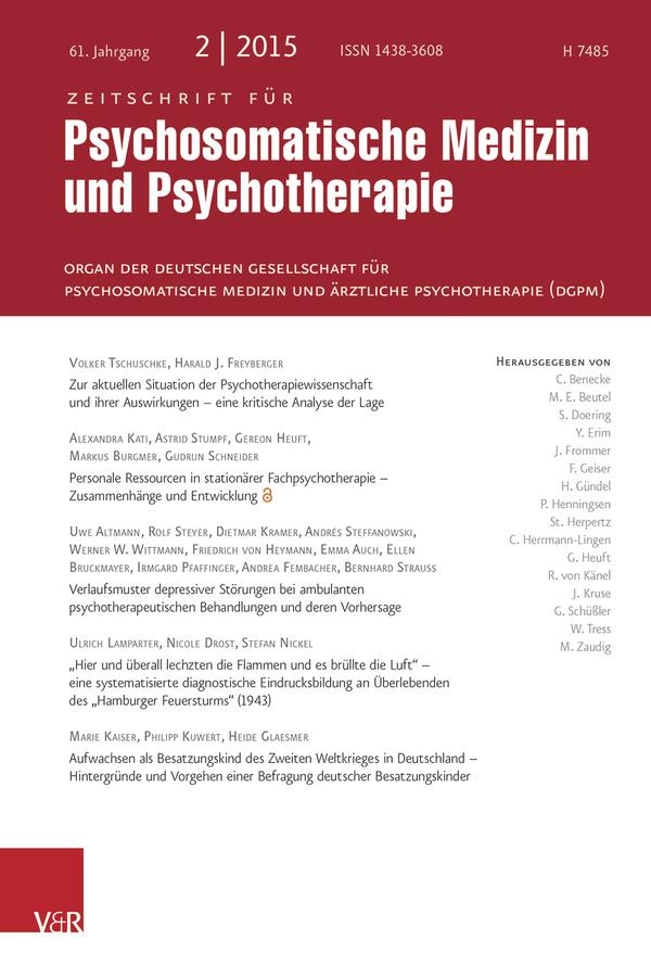 Zeitschrift für Psychosomatische Medizin und Psychotherapie