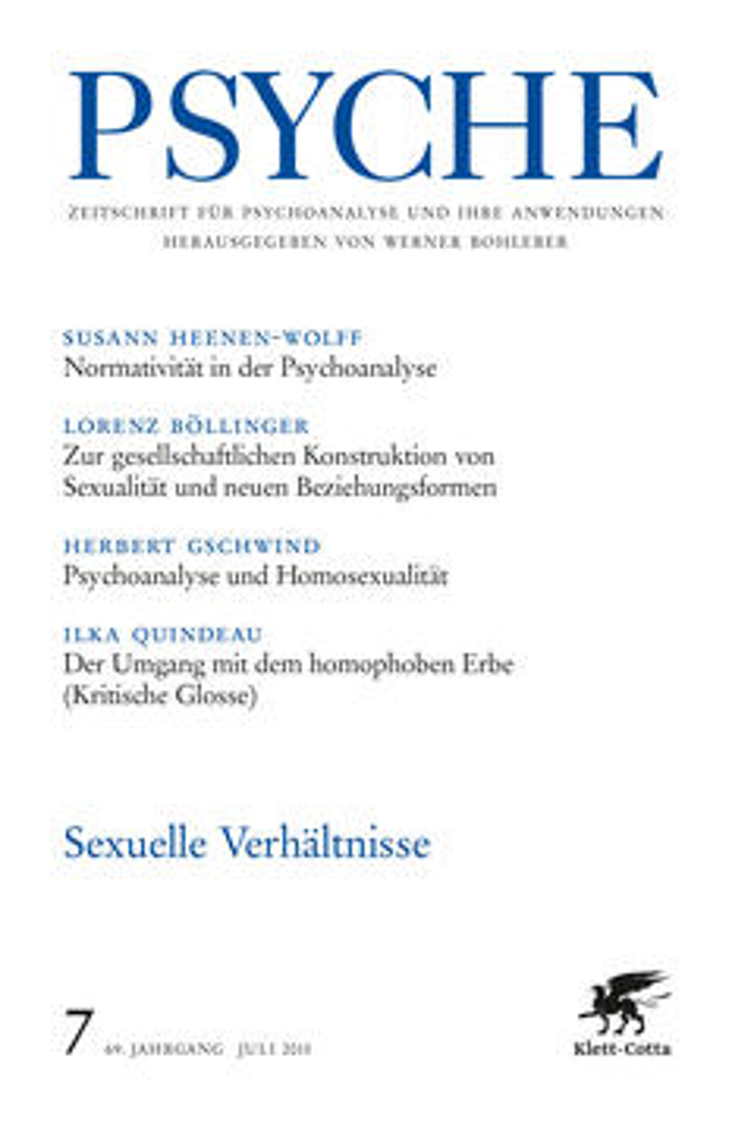 PSYCHE - Zeitschrift für Psychoanalyse und ihre Anwendungen