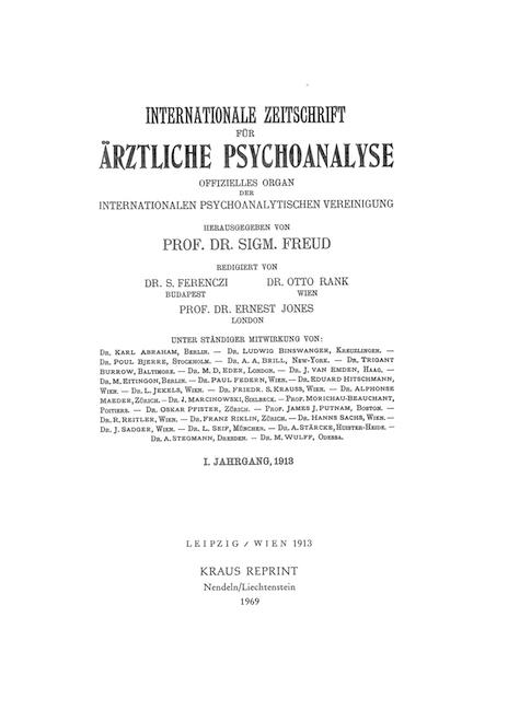 Internationale Zeitschrift für Psychoanalyse und Imago
