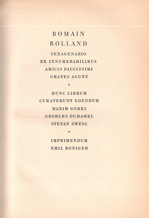 Liber amicorum Romain Rolland