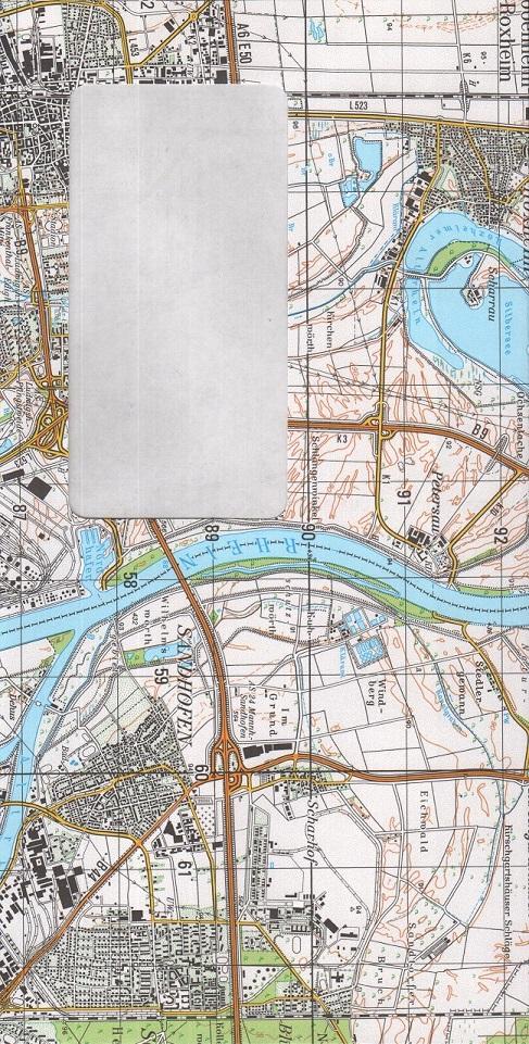 ÖKO-Briefkuverts aus Landkartenpapier – Variante: Kartenmotiv außen