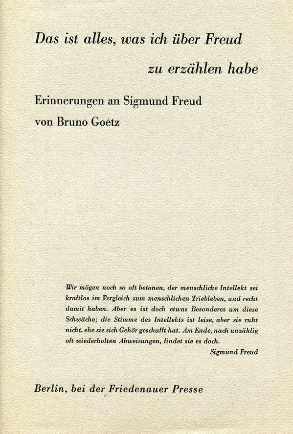 Das ist alles, was ich über Freud zu erzählen habe