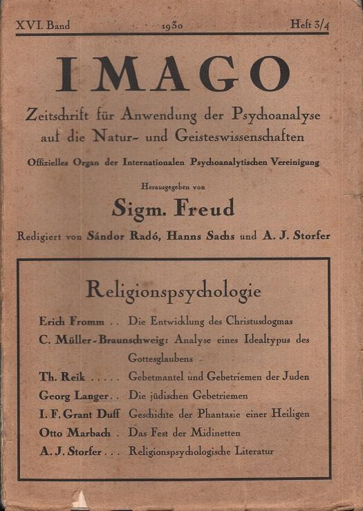 IMAGO, 1930, Ausgabe 3/4, XVI. Band - Thema: Religionspsychologie