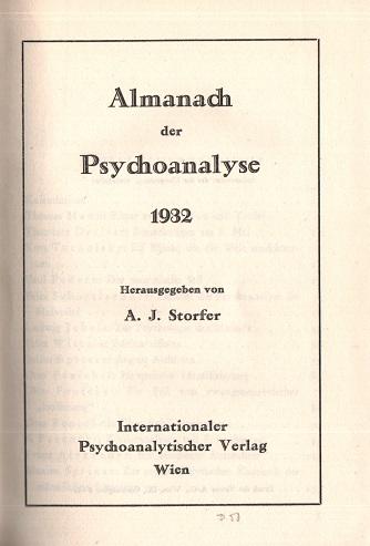 Almanach der Psychoanalyse 1932