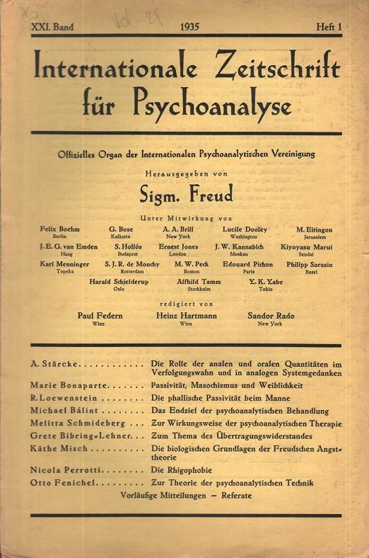 Internationale Zeitschrift für Psychoanalyse, 1935, Heft 1