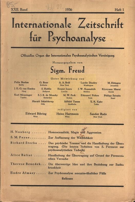 Internationale Zeitschrift für Psychoanalyse, 1936, Heft 1