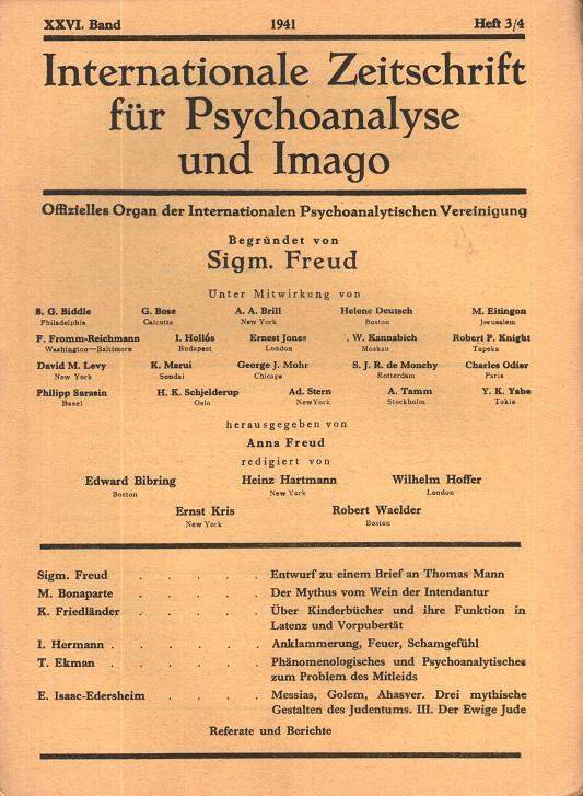 Internationale Zeitschrift für Psychoanalyse und Imago, 1941, Heft 3/4