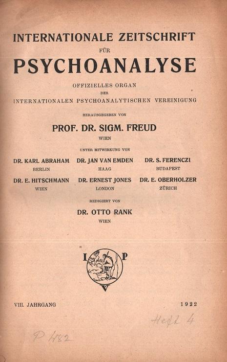 Internationale Zeitschrift für Psychoanalyse, 1922, Heft 4