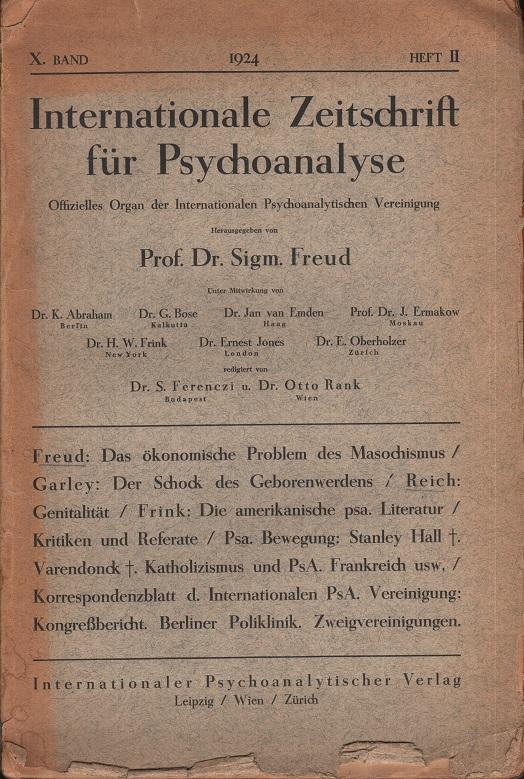 Internationale Zeitschrift für Psychoanalyse, X. Jhrg. (1924), Heft 2