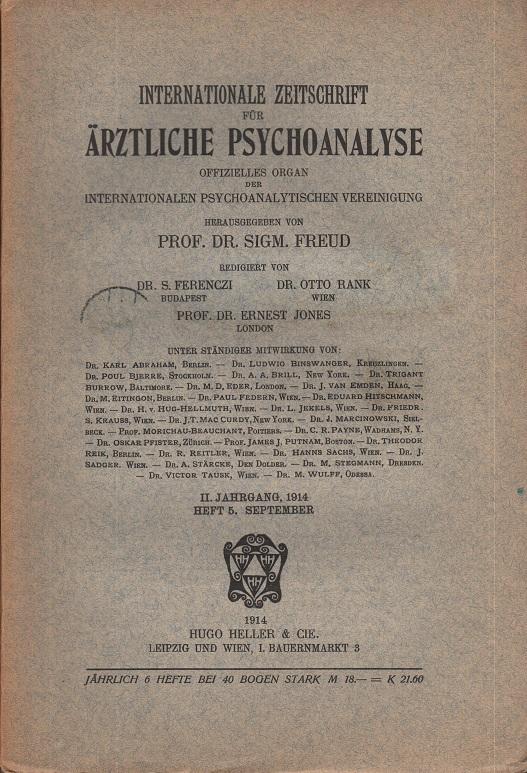 Internationale Zeitschrift für Ärztliche Psychoanalyse II. Jahrgang 1914, Heft 5