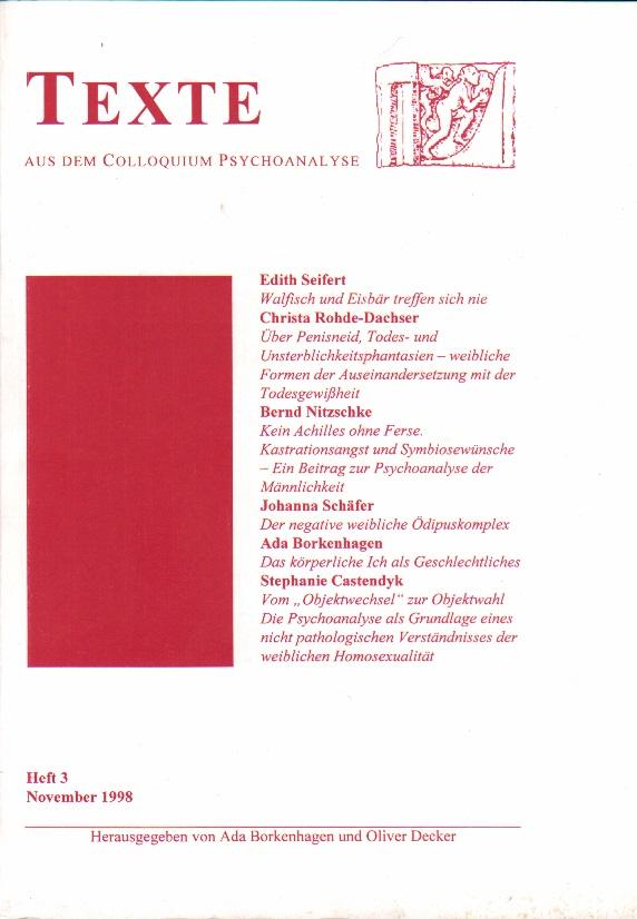 TEXTE - Aus dem Colloquium Psychoanalyse