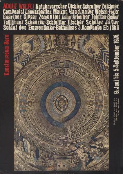 Ausstellungsplakat - Adolf Wölfli im Kunsthaus Bern, 9. Juni bis 5. September 1976