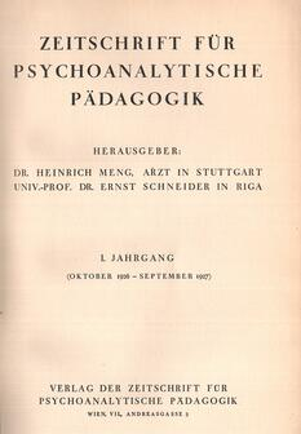 Zeitschrift für Psychoanalytische Pädagogik, I. Jahrgang
