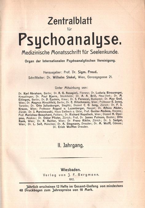 Zentralblatt für Psychoanalyse - II. Jahrgang 1912