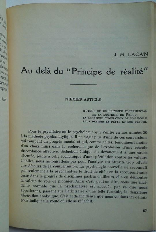 """Au delà du """"Principe de réalité"""" (Erster psychoanalytischer Beitrag Lacans überhaupt)"""