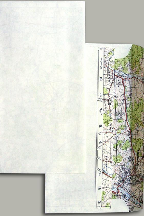 BRIEFKUVERTS aus Landkartenpapier – Variante: Kartenmotiv INNEN
