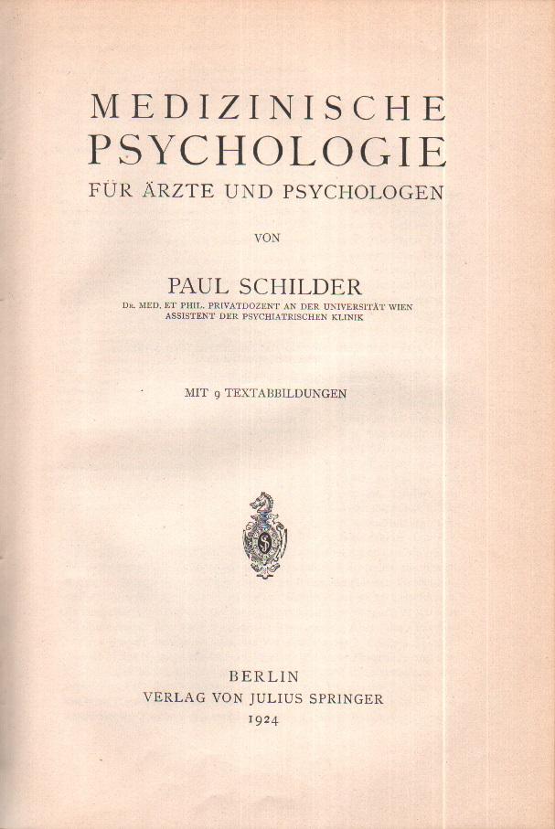 Medizinische Psychologie für Ärzte und Psychologen