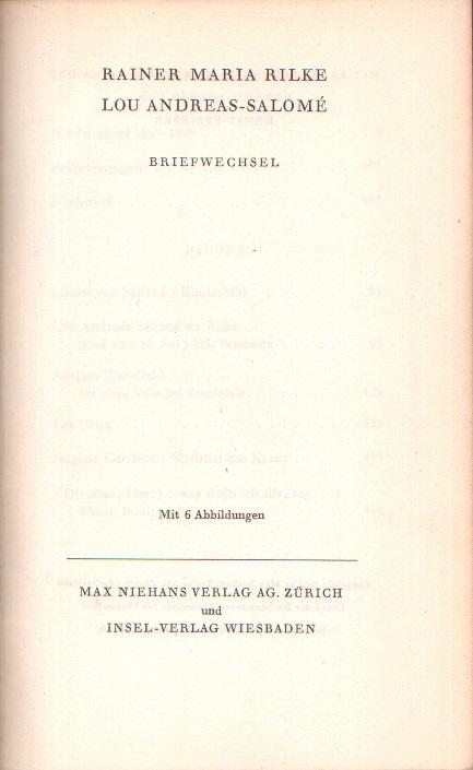 Rainer Maria Rilke - Lou Andreas-Salomé: Briefwechsel