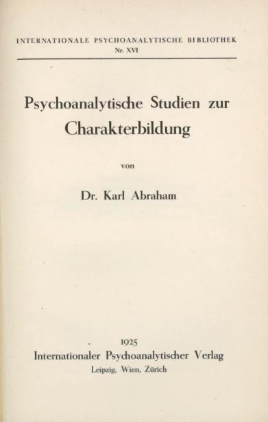 Psychoanalytische Studien zur Charakterbildung