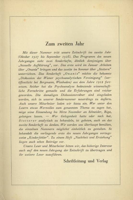 Zeitschrift für Psychoanalytische Pädagogik, II. Jahrgang