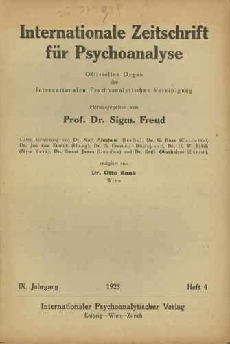 Internationale Zeitschrift für Psychoanalyse, 1923, Heft 4