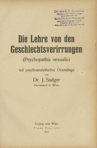 Die Lehre von den Geschlechtsverirrungen (Psychopathia sexualis)