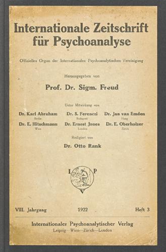 Internationale Zeitschrift für Psychoanalyse, 1922, Heft 3