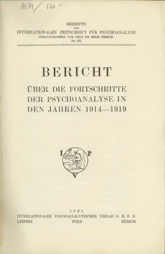 Internationale Zeitschrift für Psychoanalyse, Beiheft 3
